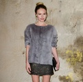 Kate Bosworth at Topshop Unique FW13/14, faux fur sweater, gold embellished skirt