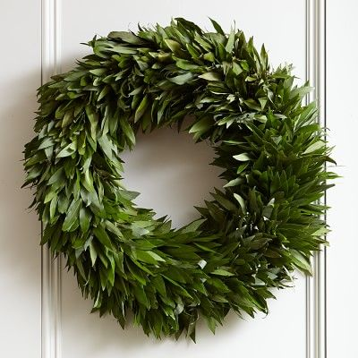 Bay Leaf Wreath #williamssonoma Smells great, shipped fresh fr NoCA, can use in your holiday cooking!