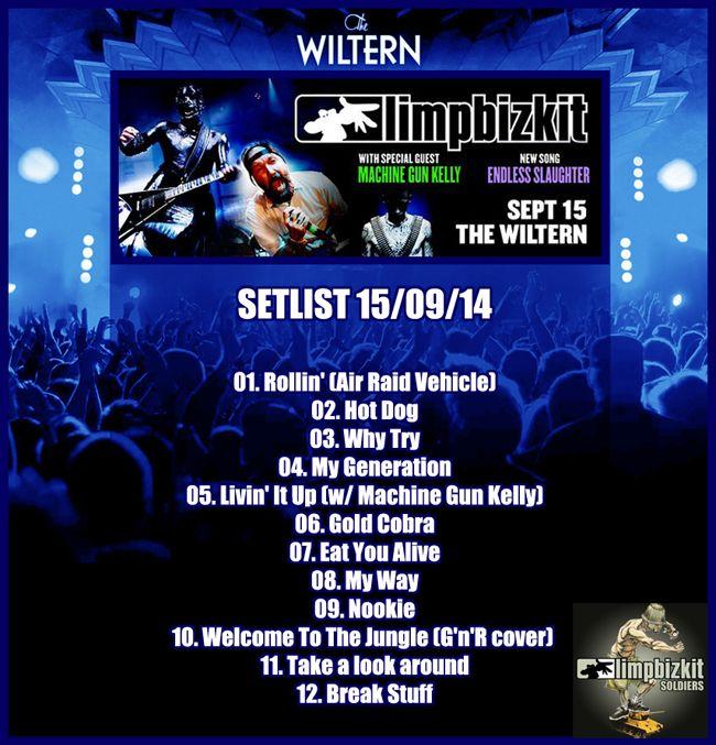 #limpbizkit #wiltern #setlist