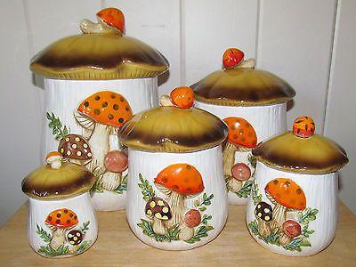 Vintage Retro Sears 5 Pc Merry Mushroom Ceramic Canister Set