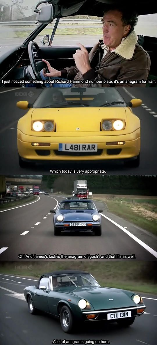Anagrams In Number Plates. Top Gear. Pinned by http://FlanaganMotors.com