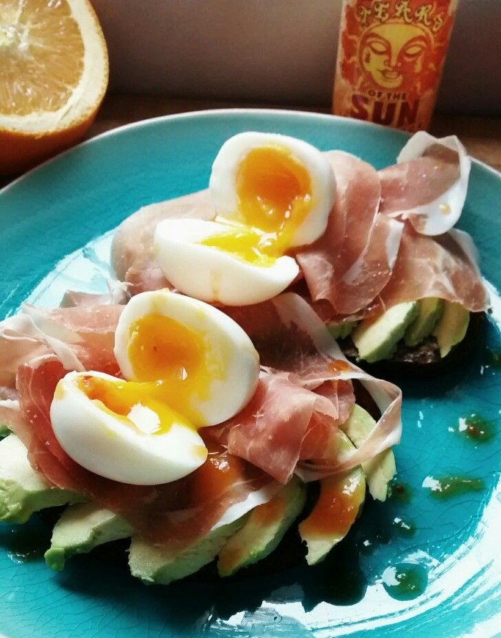 A healthy breakfast that is quick & easy to prepare - prosciutto & avocado on dark rye bread topped with soft boiled eggs & finished off with Tears of the Sun hotsauce. Lowfat, lowcarb & rich in protein & healthy fats plus the added health benefits of capsaicin, this breakfast will kickstart your day & help keep you going all day.