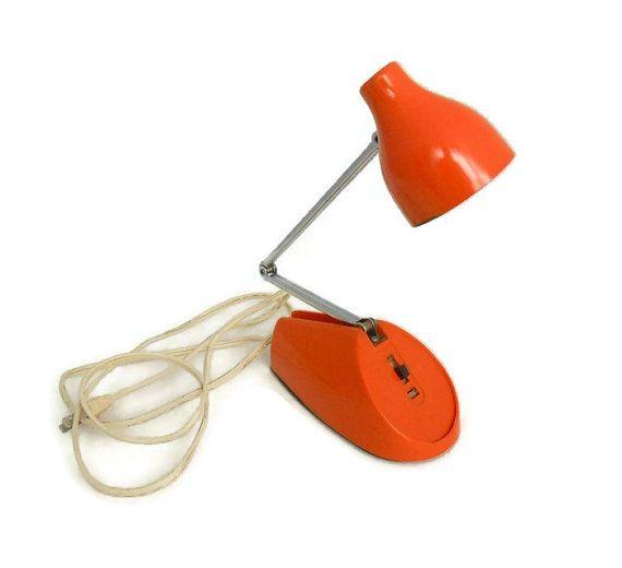 Orange Enamel Lamp - Vintage 1960's - Hamilton - Adjustable Extension Arm…