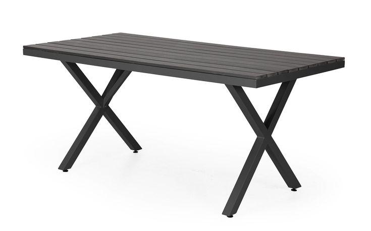 Leone är ett modernt och stilrent matbord med kryssben i aluminium och en topp av Nonwood. Det är helt underhållsfritt och kan stå ute året runt. Köp kvalitets utemöbler från Brafab online på Folkhemmet.