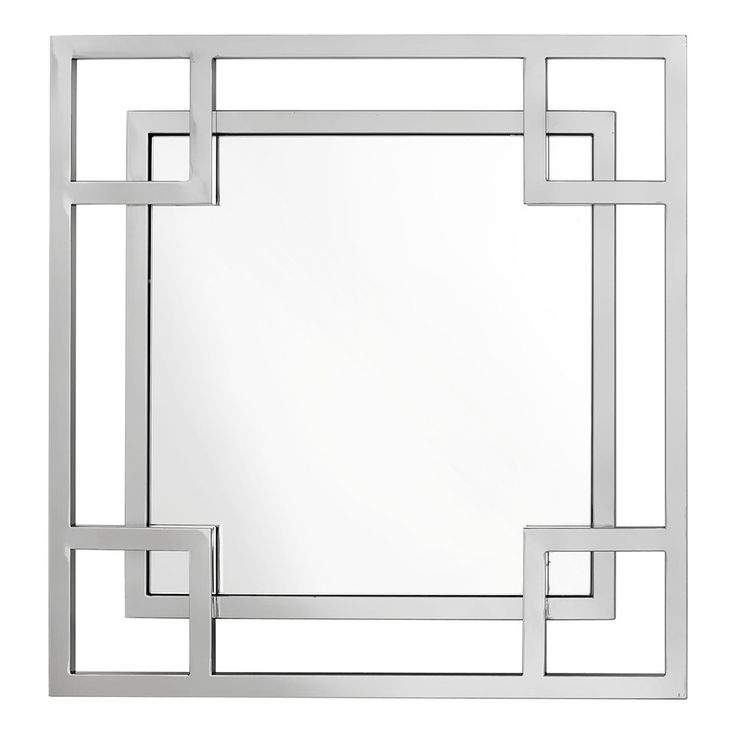 Square mirror with stainless steel frame and mirrored glass pane from Eichholtz There are two frames of the mirror - the main and internal frame - which overlap to add to the modern style of the accessory.