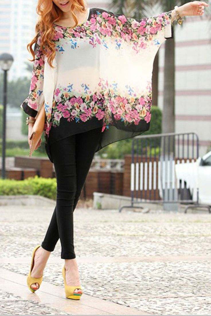 Love the Yellow Pumps! Summer Round Neck Batwing sleeve Floral Casual Loose Blouse