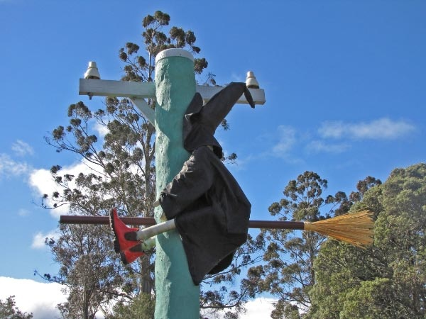Nancy the Witch comes to grief at Tasmazia and the Village of Lower Crackpot near Sheffield.
