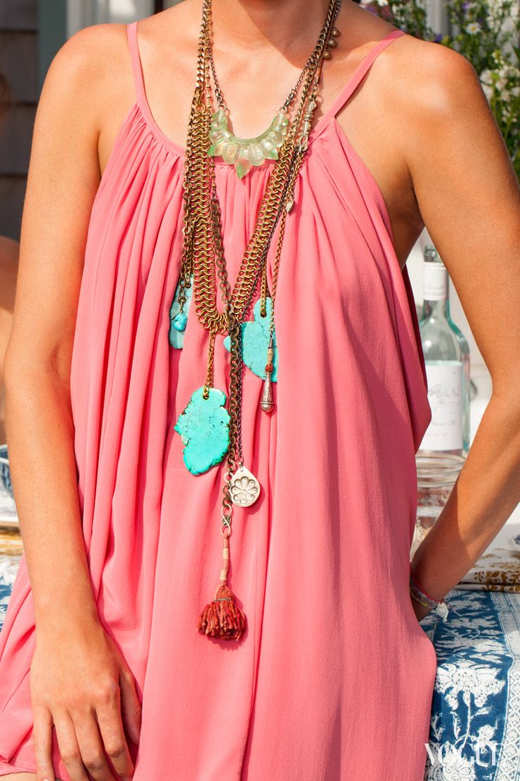 Valerie Boster, Aqua Resin Tribal Spike Necklace: Vogue Fashion, Girls Generation, Bohemian Chic, Blue Necklaces, Drop Necklaces, Style Icons, Vogue Usa, Cool Necklaces, Summer Clothing