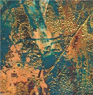 A painted background is imprinted with a sprig coated with embossing ink. The wet ink is covered with embossing powder and a heating element is employed to raise the gold surface. Raised surfaces provide an intriguing tactile environment. - See more at: http://www.createmixedmedia.com/blogs/guest-posts/mixed-media-alchemy-acrylic-painting-ideas#sthash.iaUMLLyA.dpuf