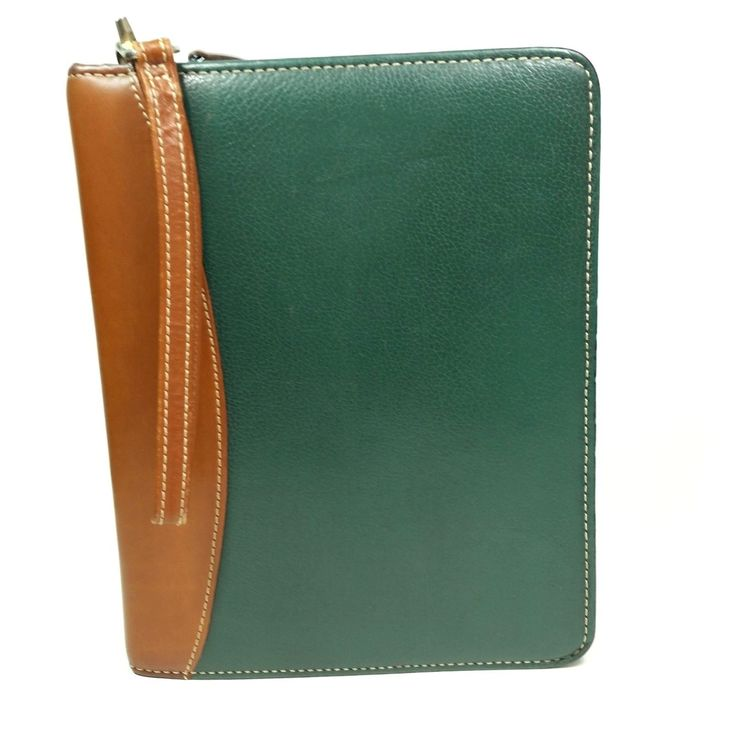 Franklin Quest 7 Ring Leather Binder Green Brown Personal Organizer Planner | eBay