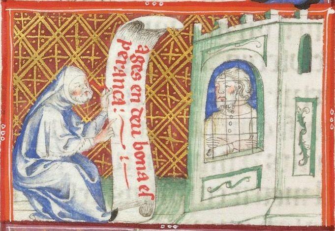 Yates Thompson 31 f. 110v Visiting the prisoner.