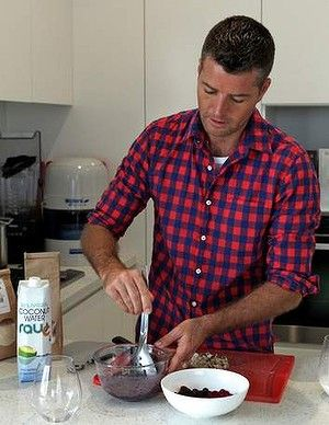 Getting into the spirit of it: Pete Evans demonstrates how to make his healthy chia pudding.