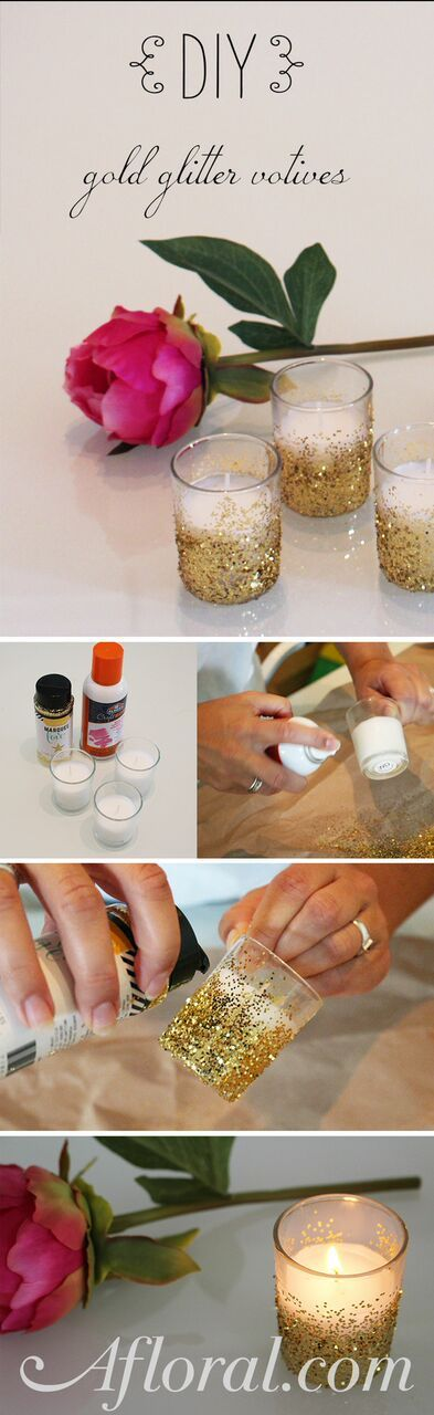 Create this easy wedding DIY with candles and glitter for a centerpiece idea that lights up your event and makes it sparkle.  Afloral.com has everything you need for your Glitter Wedding.