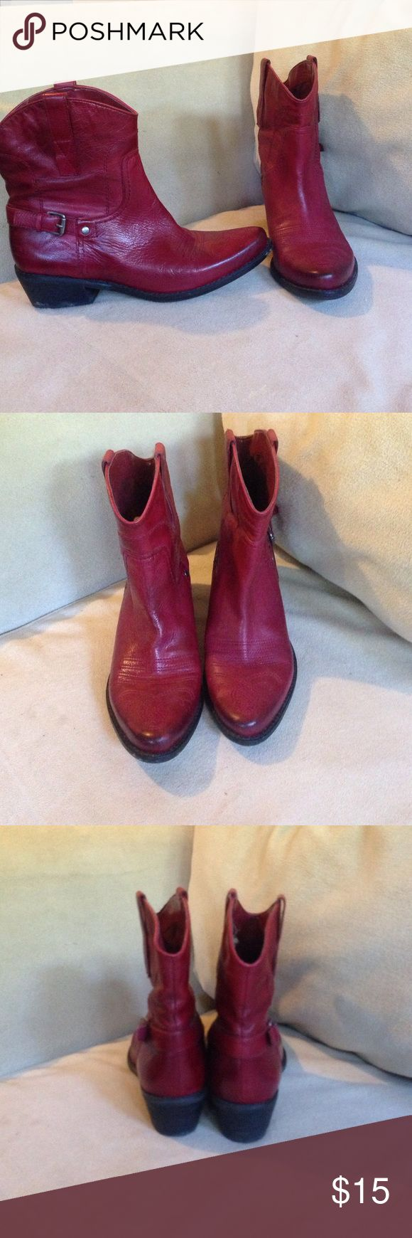 Red ankle cowboy boots Franco Sarto red ankle cowboy boot in great condition 8.5 Franco Sarto Shoes Ankle Boots & Booties
