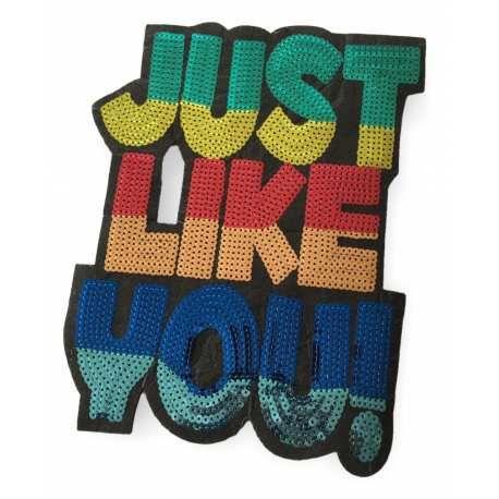 XL PAILLETTEN PATCH JUST LIKE YOU!., AUFNÄHER, 27X21CM – (#Aufnäher mit Pailletten C61)… patch, #glamour, #pailletten, #glam, #edel, #groß, #rücken, #brust, #applikation, #pop, #aufnäher, #xl, #patches, #klassisch, #stylisch