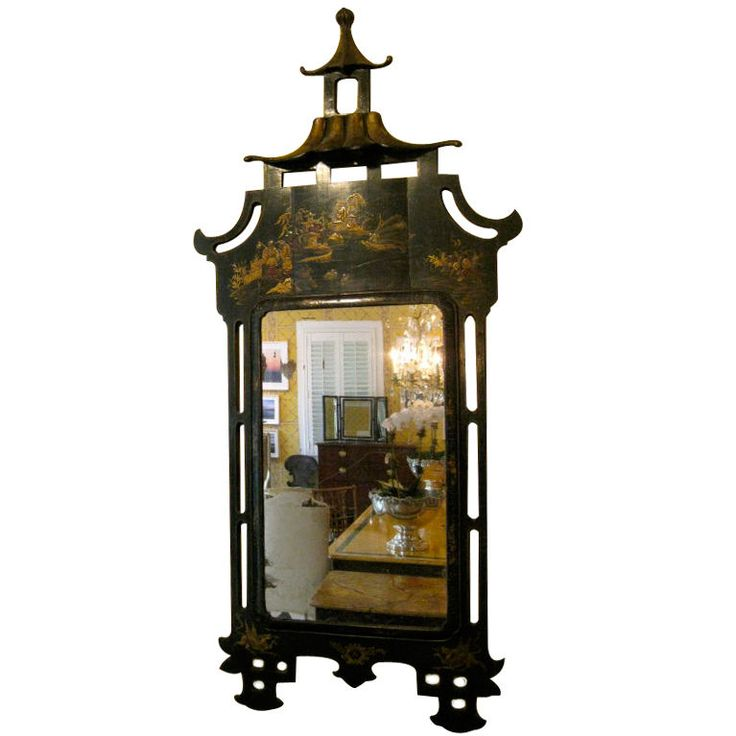 19th Century French Black Chinoiserie Pagoda Mirror