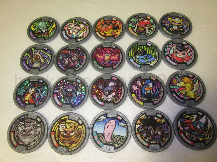 Yokai Watch 20 Medals Holo Chapter 4 5 Gray JAPAN Ver. Lot Pookivil Castlelius #BANDAIJAPAN