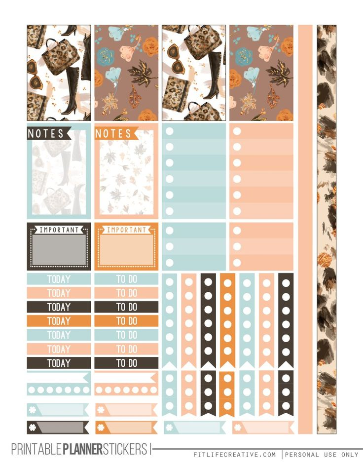 Fall Glam Printable Happy Planner Stickers