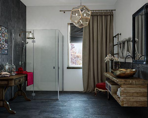 eclectic bathroom design with dark tiles digsdigs