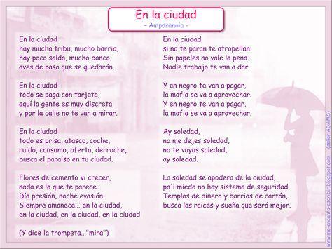 Me encanta escribir en español: Canción: En la ciudad (Amparanoia)