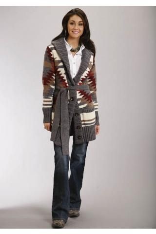 Aztec Motif Wool Blend Sweater Stetson Ladies Collection, Fall Ii Outerwear  Urban Western Wear