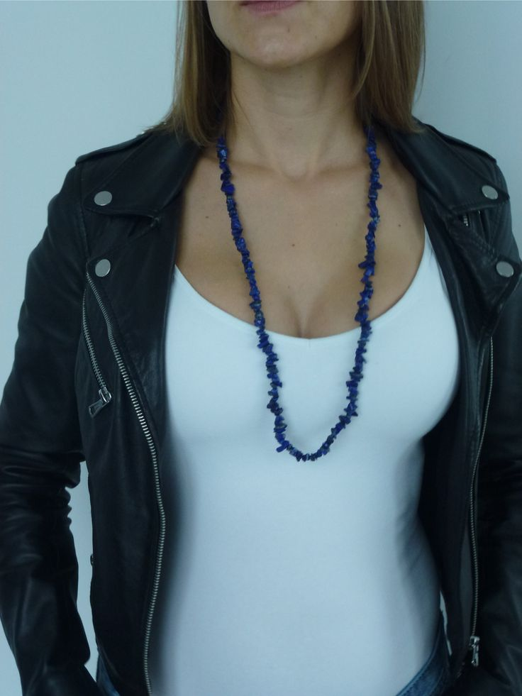 "Natural Lapis Lazuli Crystal Necklace 32"" for Women  Lapis Lazuli Crystal is Symbol of Wisdom and Universal Truth"