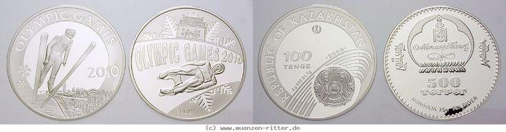 RITTER Olympische Winterspiele Vancouver 2010, 2 Münzen, Mongolei, Kasachstan,PP #coins