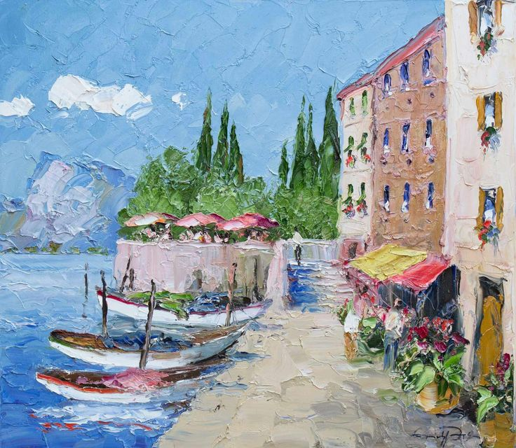 Lake Garda original oil painting using a palette knife by the artist Erich Paulsen (32 x 28 inches)