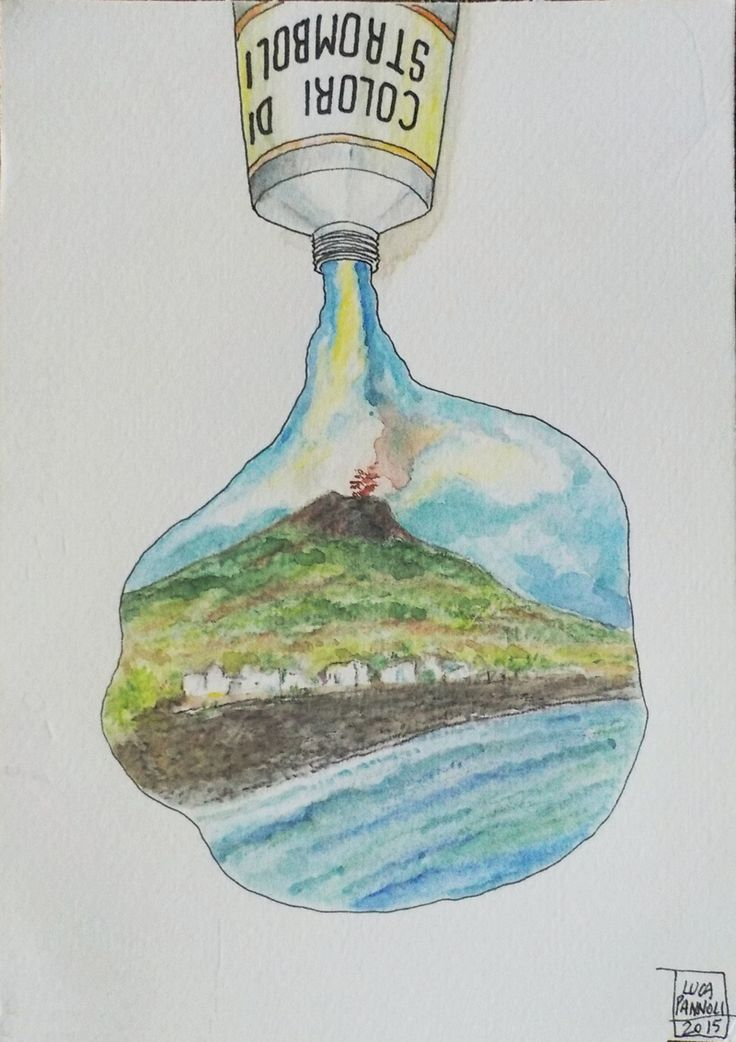 Stromboli - watercolour - july 2015