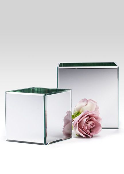 5in & 7in Beveled Edge Mirror Cube Vases