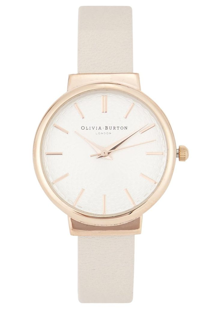 Olivia Burton rose gold plated watch Designer stamped face, embossed detail on dial Buckle fastening cream leather strap Comes in a designer stamped box