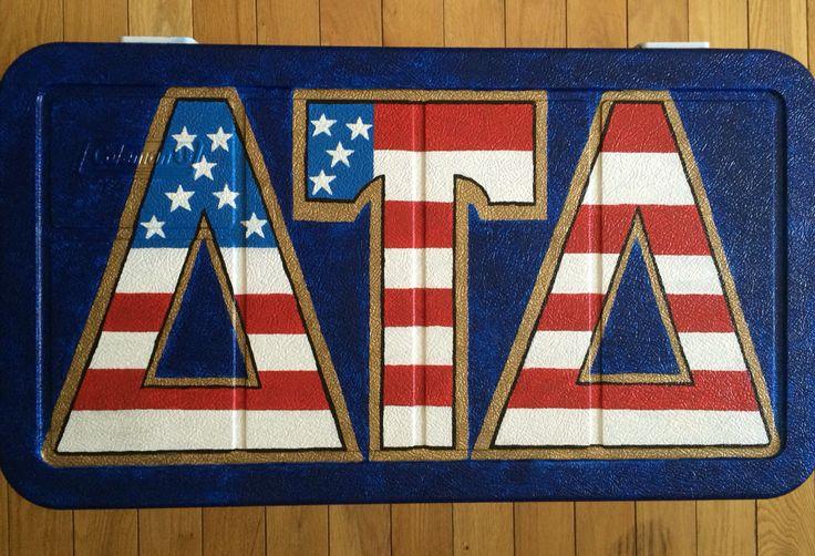 America themed Fraternity Cooler lid - Delta Tau Delta