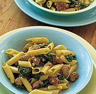 Penne with Sausage, Chard & Pine Nuts. Oh so yummy!
