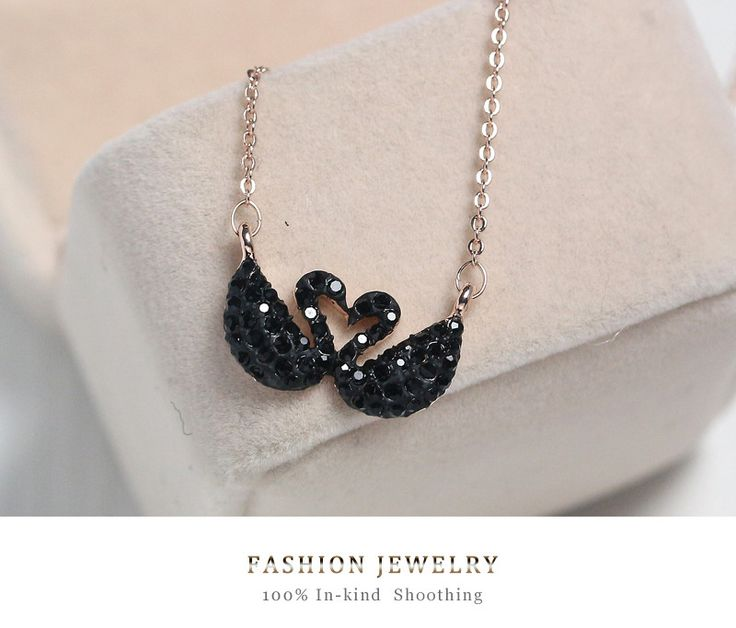 Fashion jewelry Black Swan Crystal Lover Rose Gold Necklace For Women Necklaces Pendants Girl's Gifts 1