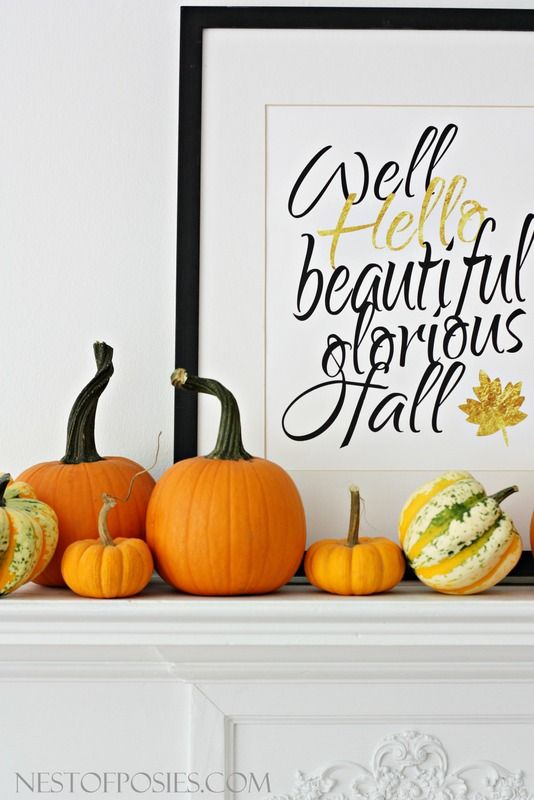 Well Hello, beautiful glorious Fall - free 11x14 printable with black & gold lettering! Cost to print at a chain print shop 2.18!!! Beautiful statement piece for your home.