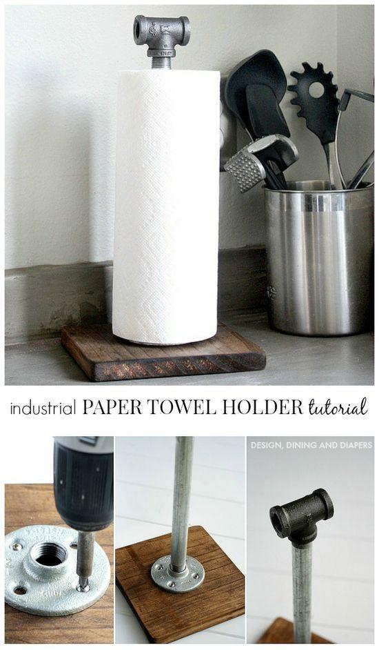 Industrial Paper Towel Holder Tutorial by @Taryn H {Design, Dining + | http://industrial-design.lemoncoin.org