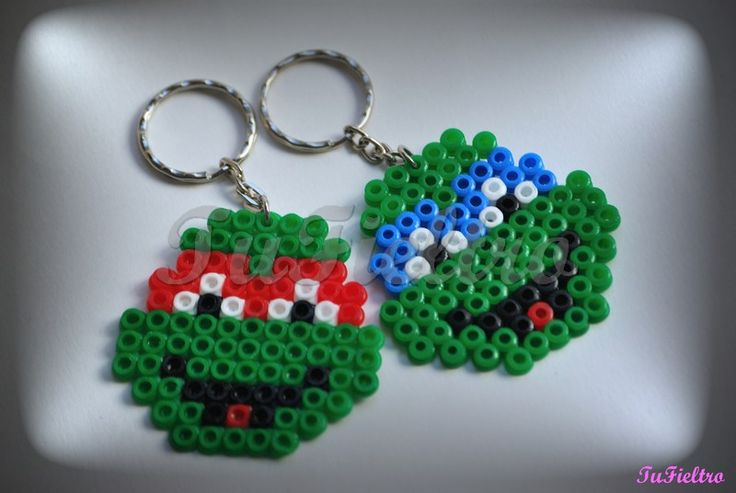 Llaveros Tortuga Ninja. Hama Beads.TuFieltro