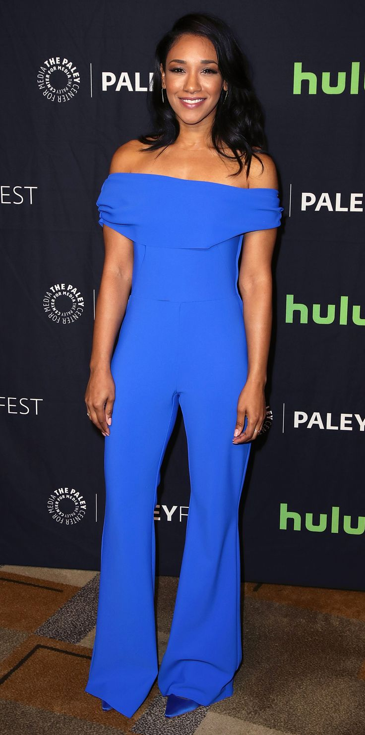 Candice Patton wore an electric blue jumpsuit to the 34th Annual PaleyFest, and we're obsessed. The The Flash actress wore the off-the-shoulder silhouette with matching blue pointed toe pumps and abstract earrings.
