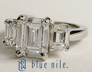 Three Stone Emerald Cut Diamond Engagement Ring in Platinum #BlueNile