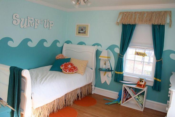 Kinderzimmer-Deko-ideen-motto-surfen-wandgestaltung-wellen-blautoene