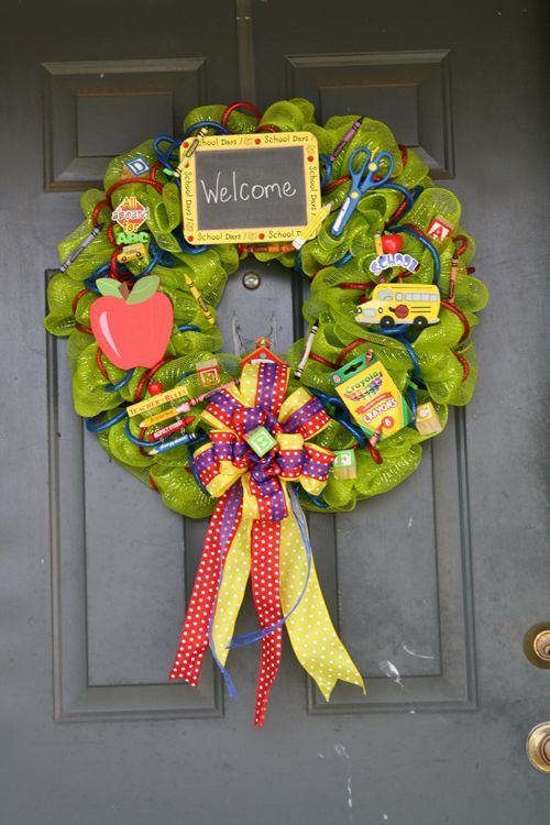 mesh wreath for school | ... -ovin-school-wreath | All Occasion Deco Mesh Wreaths & Deco Mesh S