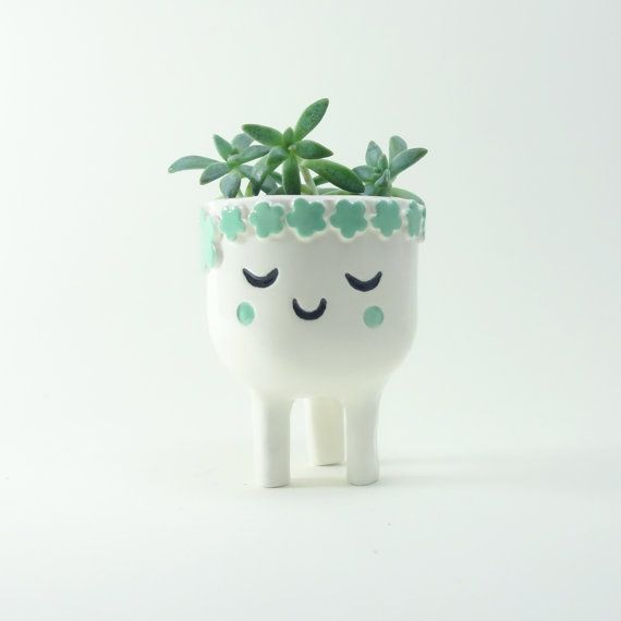 Sleeping Lady Planter - Face Plant Pot - Quirky White Ceramic Planter for Succulent or Cactus