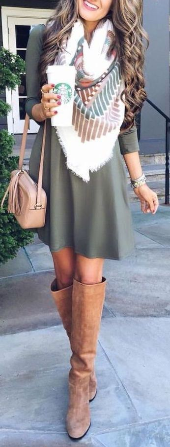 Fall Outfits / pattern print scarf + longsleeve dress and great knee high boots! Fashion for the Modern Mom