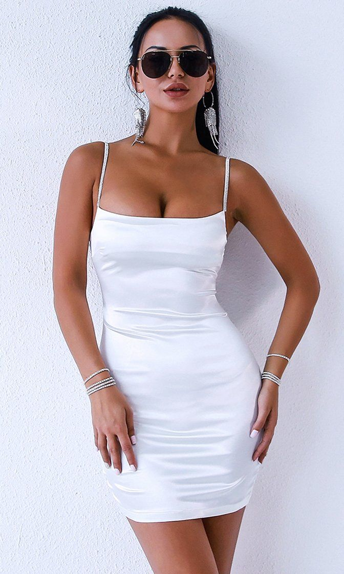 4e8f2098fb8 Cheat Sheet White Sleeveless Spaghetti Strap Satin Bodycon Mini Dress