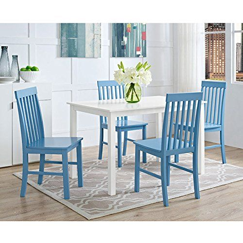 Solid rubber wood Beautiful painted finish Colorful accent chairs Set includes table and four chairs Ships ready-to-assemble with step-by-step instructions