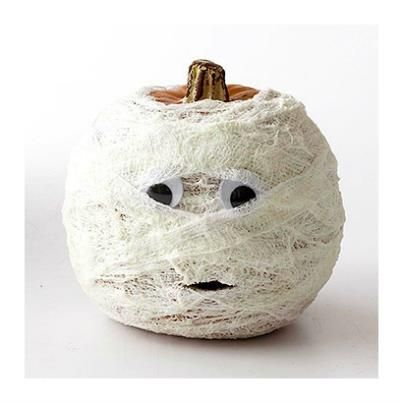 """Mummy"" Pumpkin... no carve pumpkin idea!"