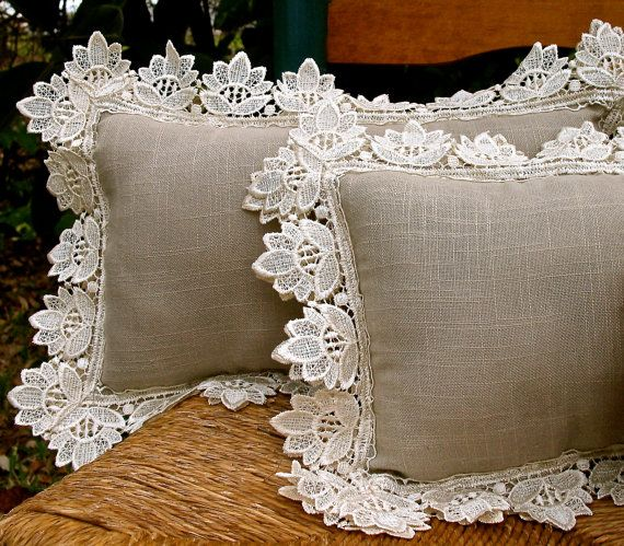 Vintage Lace and Linen Pillows in Taupe and Cream by SusieBDesigns
