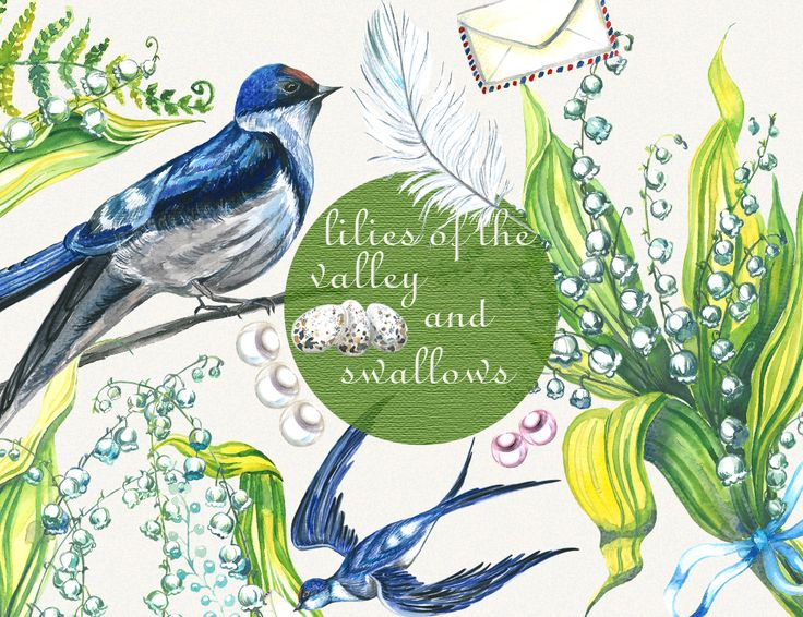 lilies of the valley, swallows, watercolor, spring flowers