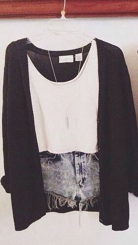 Comfy outfit to just throw on with the loose cropped white tank, ripped distressed cutoffs, a long necklace to seem like you attempted, and a long, oversized black cardigan for initial comfort