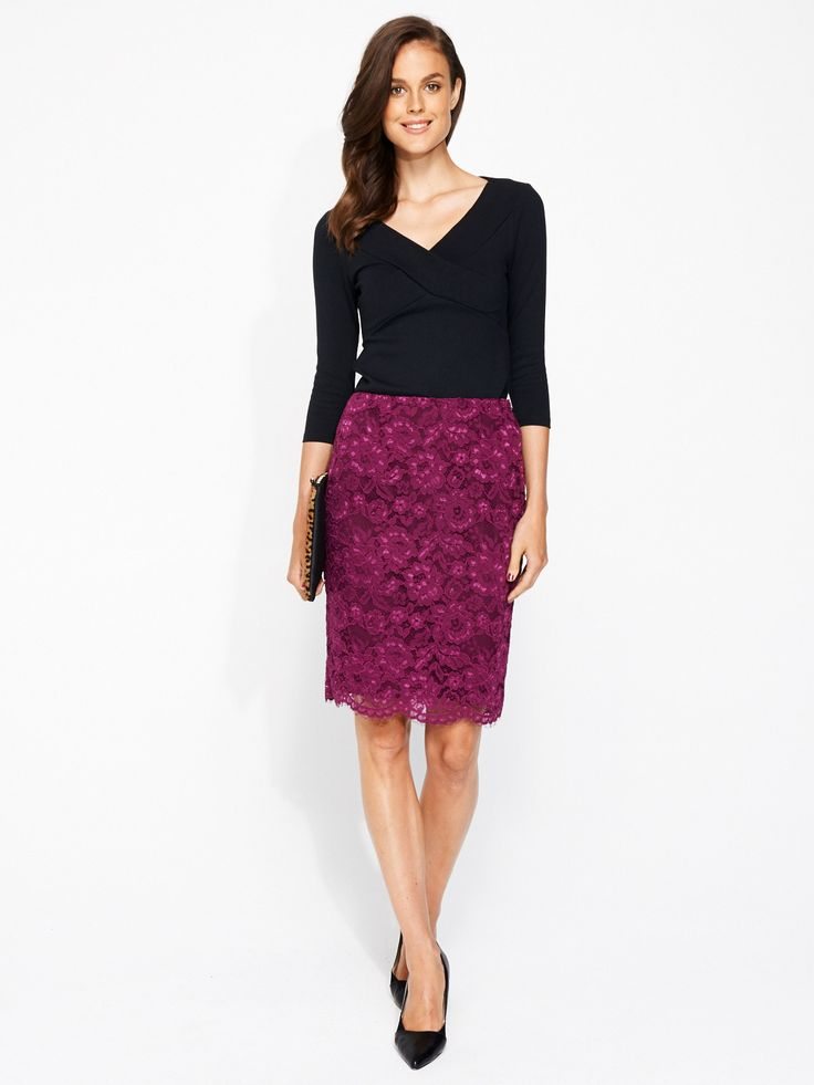 Lara Lace Skirt | Portmans - Love this colour! Hot trend for winter :) #fashionblogger #youngandpolished #lace #workready